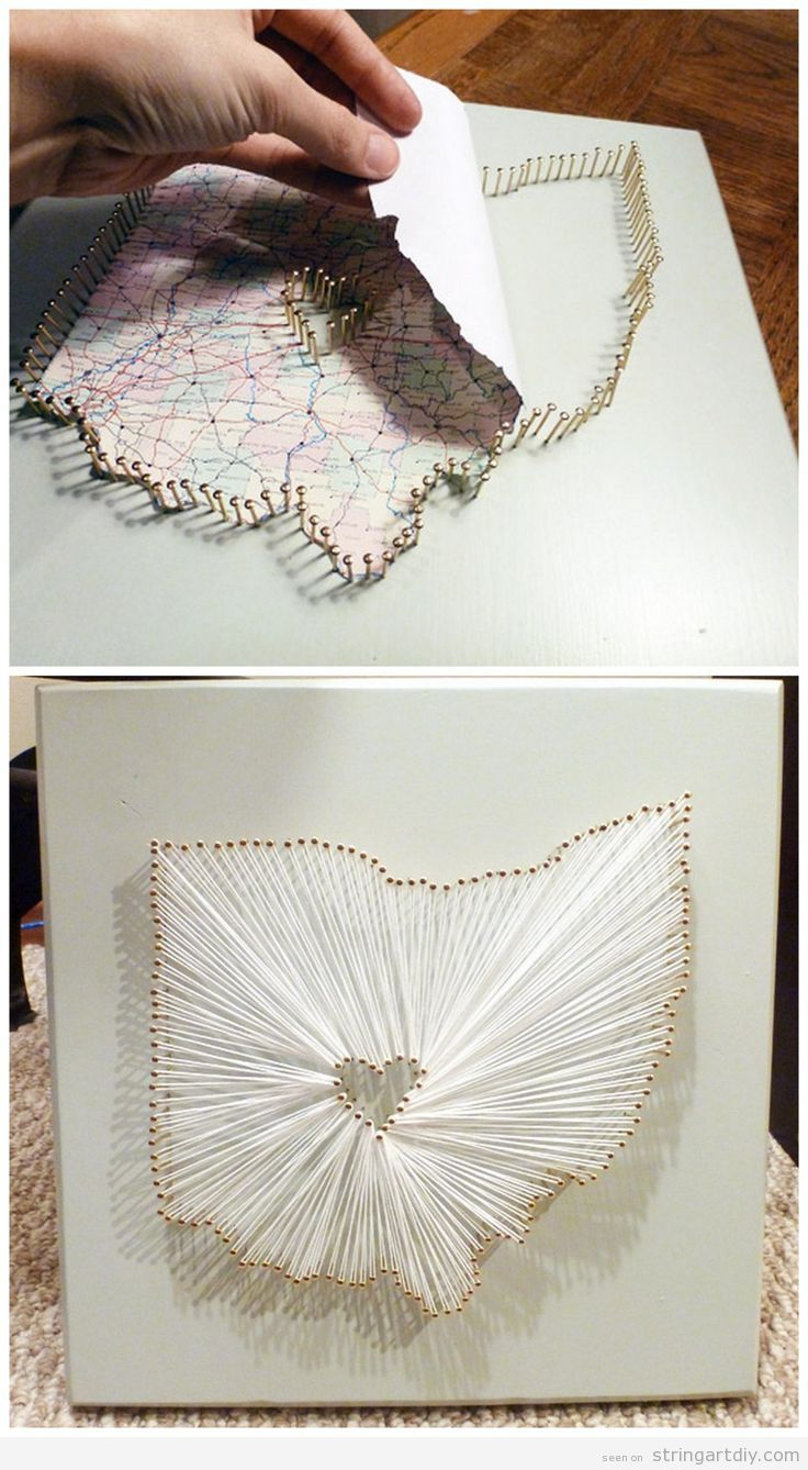 DIY String Art Map with a heart on the middle