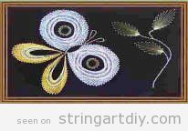Butterfly and Leaves String Art