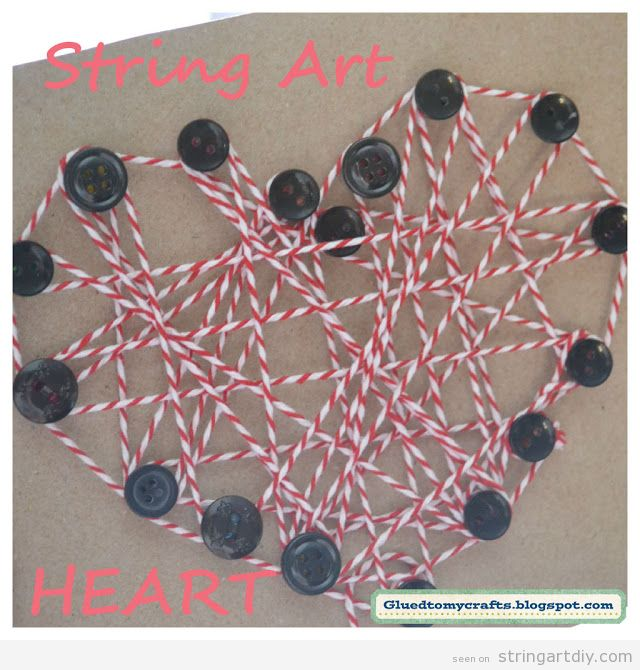 String Art Easy for kids, heart shape and buttons