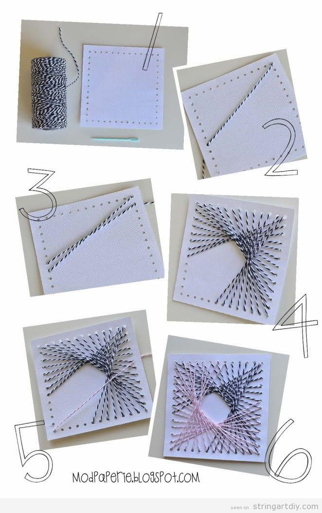 Easy String Art turorial on cardboard