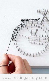 String Art bicycle shape