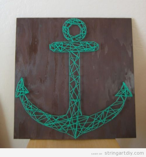 Anchor shaped String Art on wood