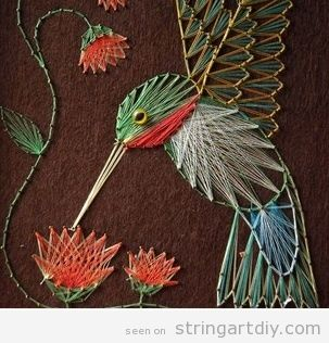 String Art DIY birds and flowers