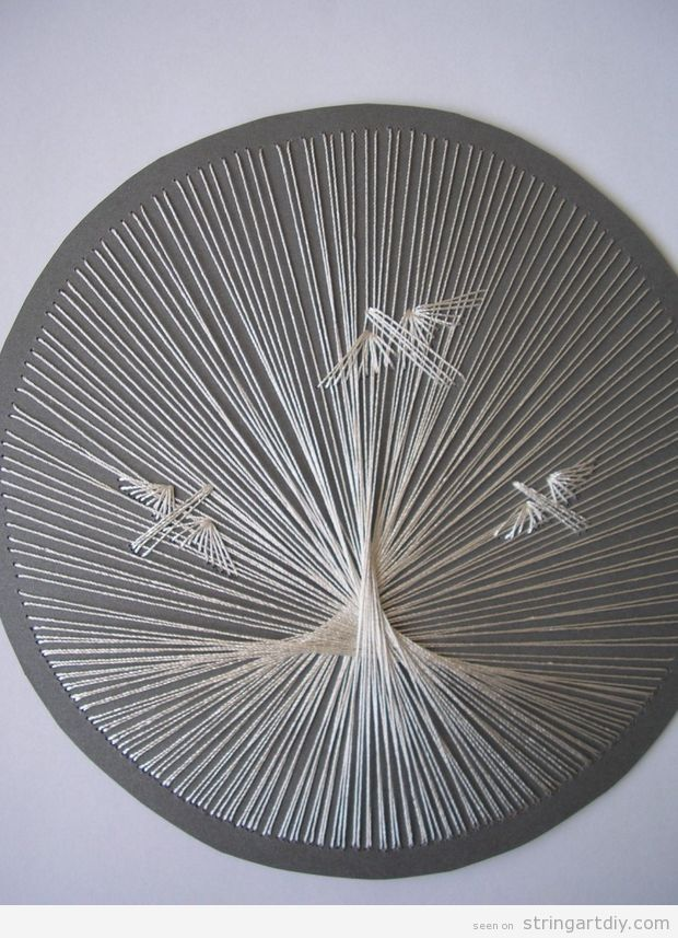 Round Shaped String Art with birds