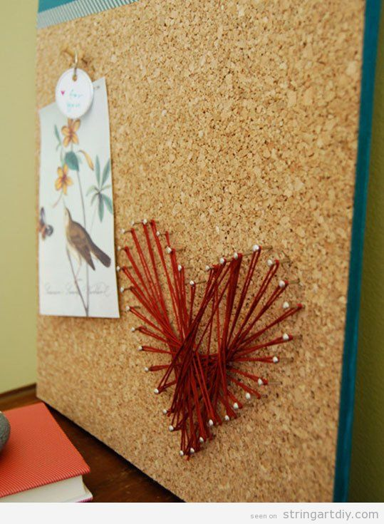Heart shaped String Art on corkboard to make with kids