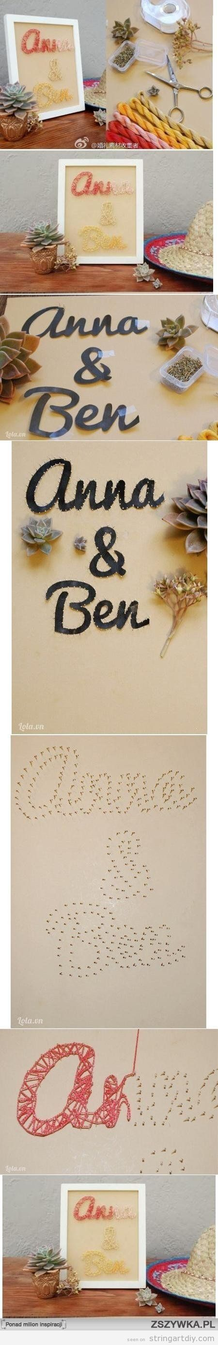 String Art DIY tutorial step by ste with names