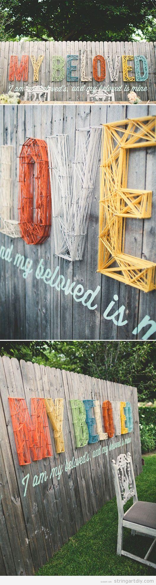 Wall String Art, Wedding decoration, Beloved