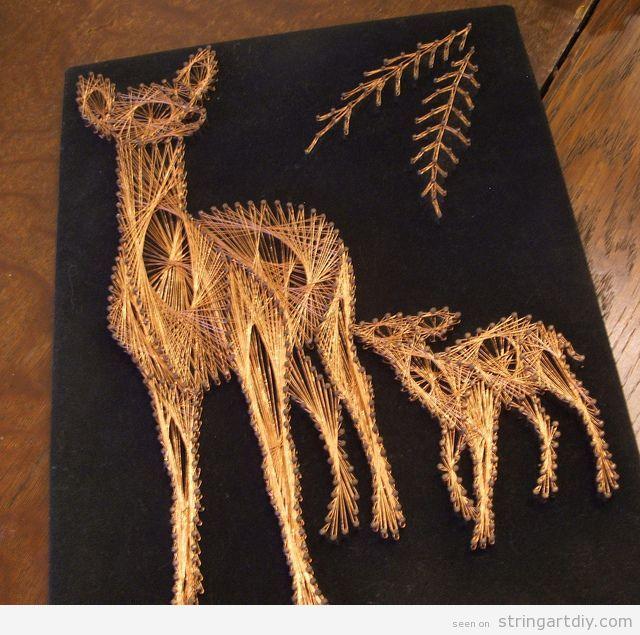Copper String Art, deer shaped