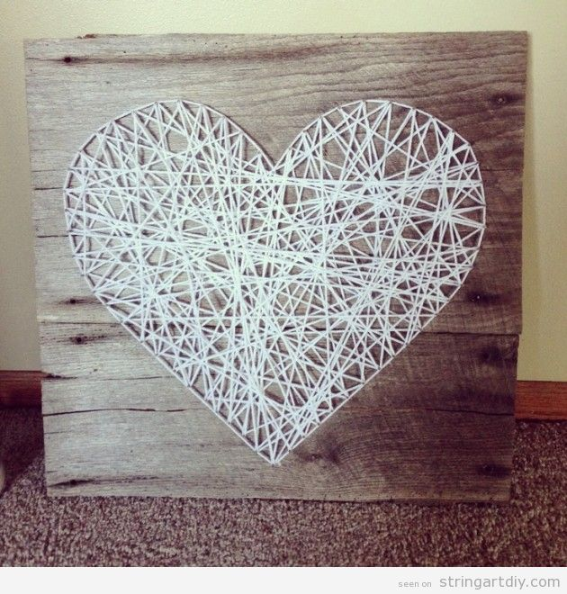 Wall String Art DIY, White Heart