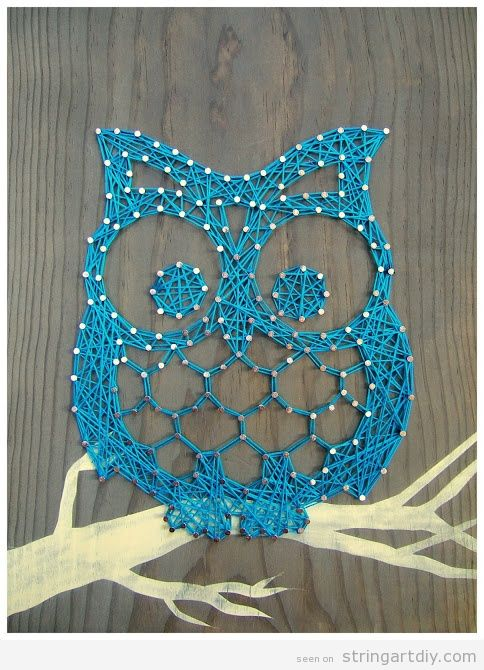 Blue Owl String Art project