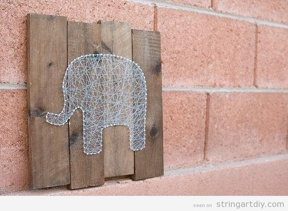 String Art DIy, Elephant shaped