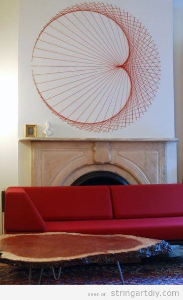 Wall string Art decoration, over the fireplace