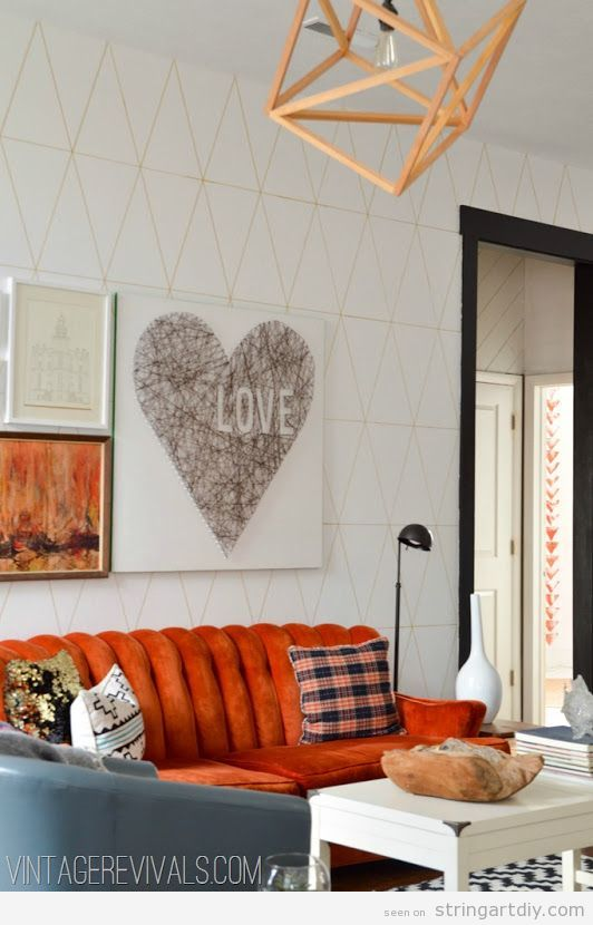 Wall String Art DIY, Heart Love