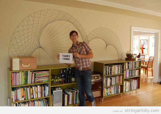 Geometric String Art DIY on a wall