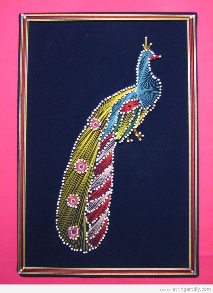 Peacock String Art DIY