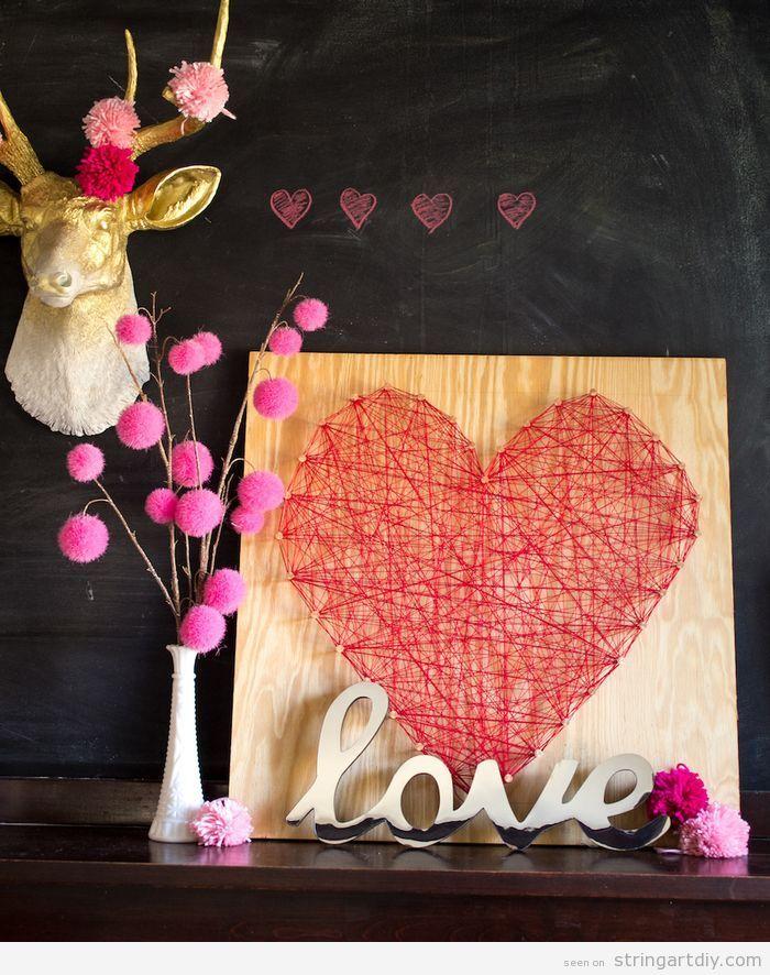 Heart String Art DIY Wedding Decoration