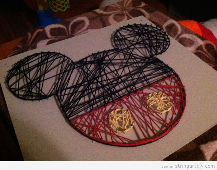 Mickey Mouse String Art, crafts for kids
