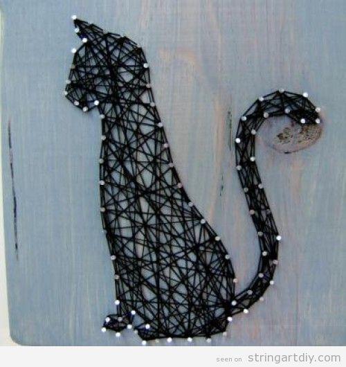Cat String Art DIY