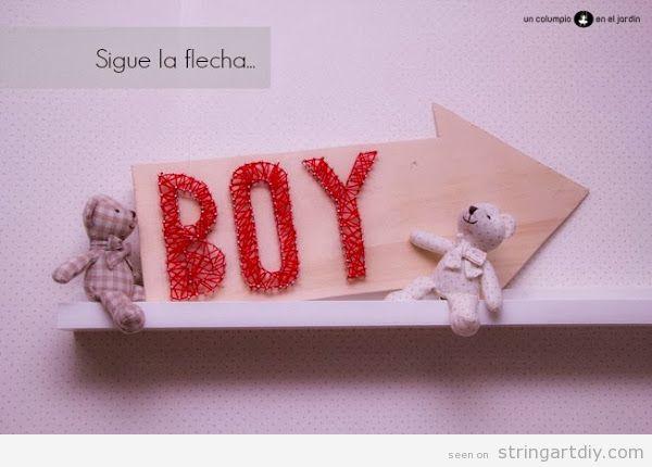 Boy String Art arrow shaped DIY, baby room decoration tutorial