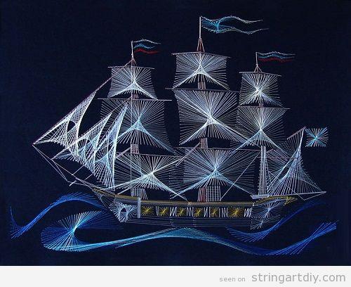 String Art DIY old sailing boat