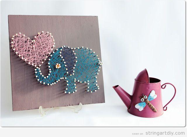 Elephant  and heart shaped String Art