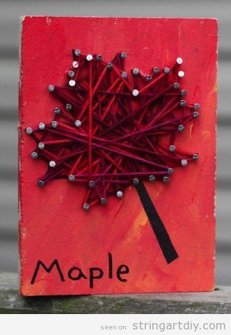 String Art Autumn, leave shaped, DIY tutorial