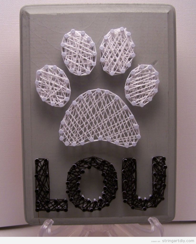 Dog Paw and his name, String Art