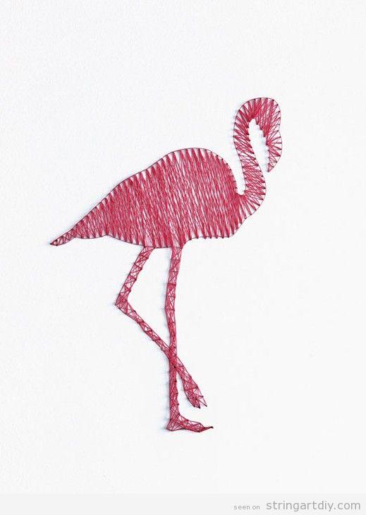 Pink Flamingo String Art DIY