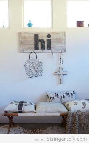Hi String Art on a hanger, hall decoration