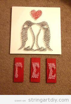 Penguins Love Strign Art DIY