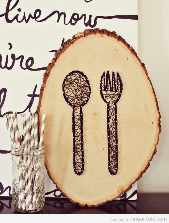 Fork and spoon string Art to decorate a restaurant or kitchen