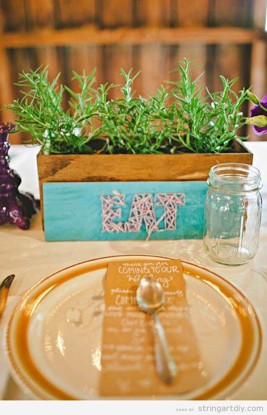 String Art on a flowerpot, restaurant decoration ideas