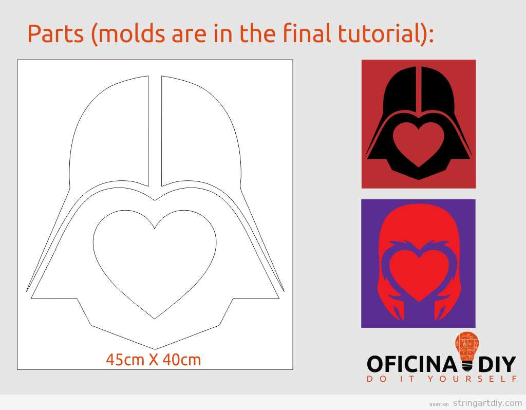 Darth Vader Valentine's String Art free pattern