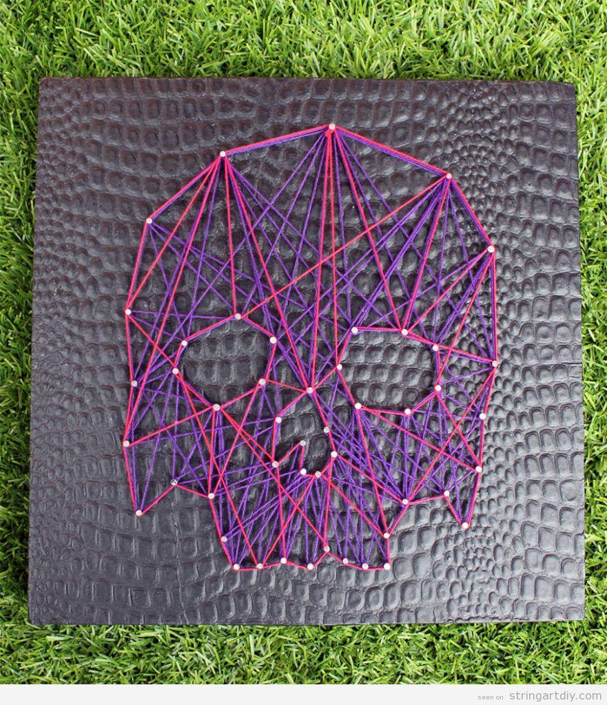 DIY String Art, pink and purple skull