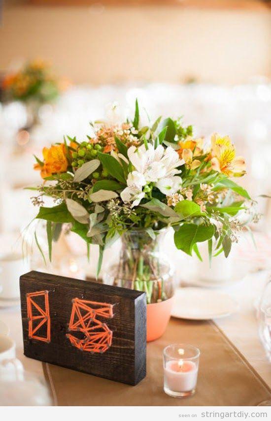 String Art wedding decoration, table number