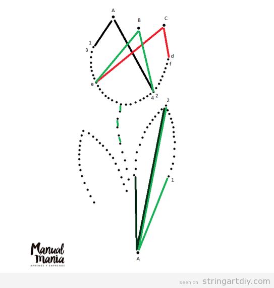 Flower String Art pattern, easy