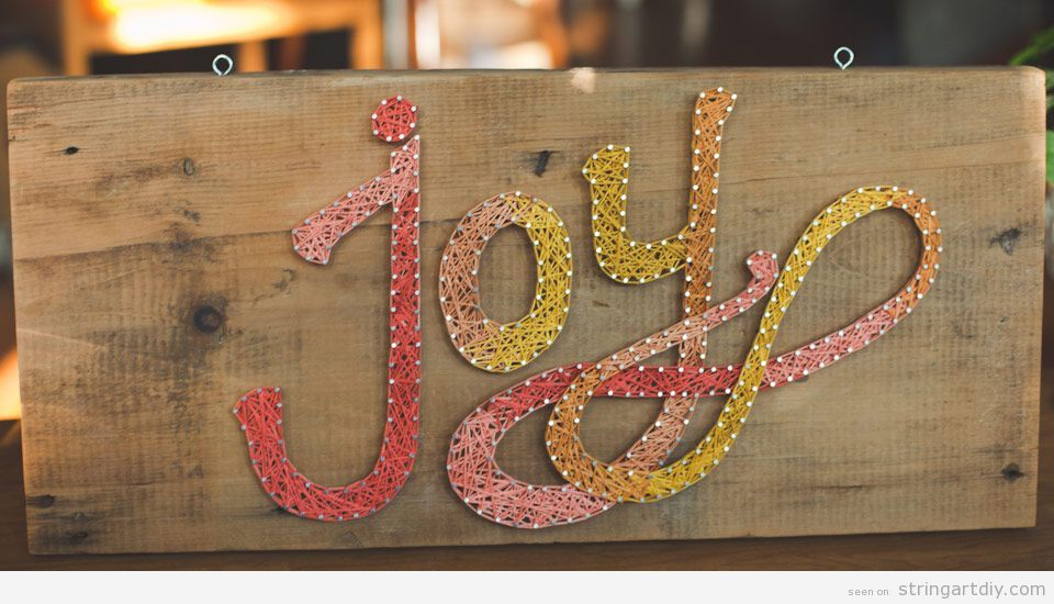 String Art word joy tutorial 1