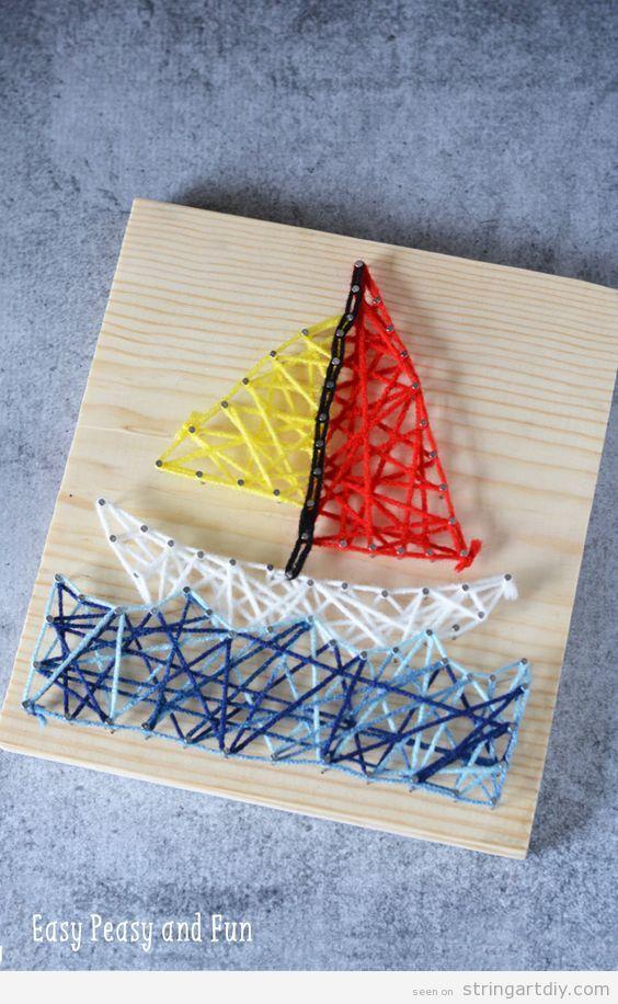 Easy boat String Art for kids