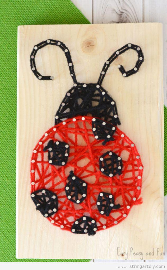 Easy Ladybug String Art for kids