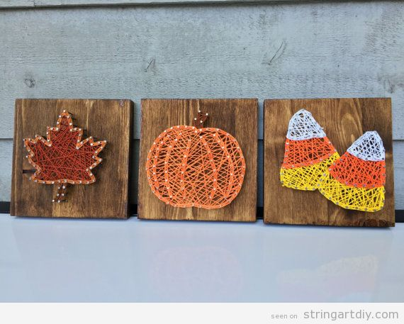 Autumn string art, leave, pumpkin and candy corn