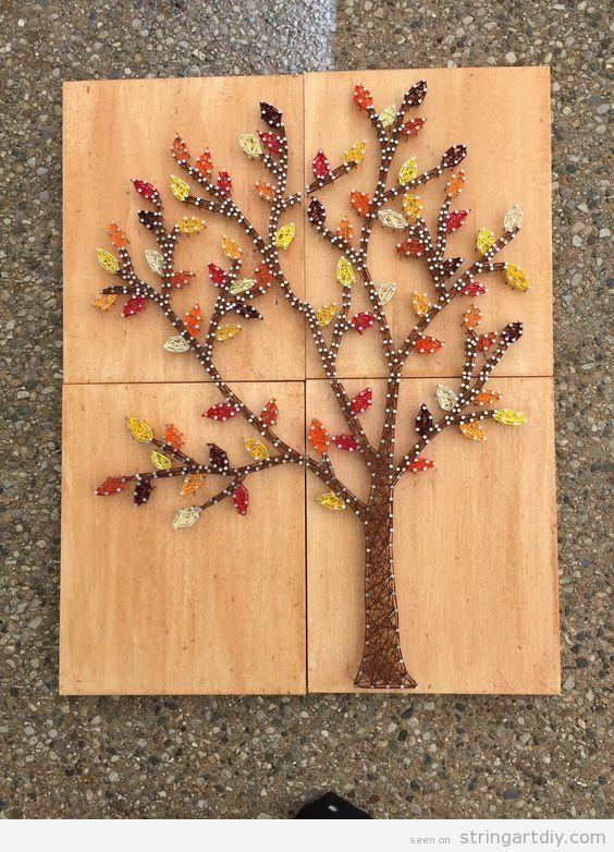 Autumn tree string art