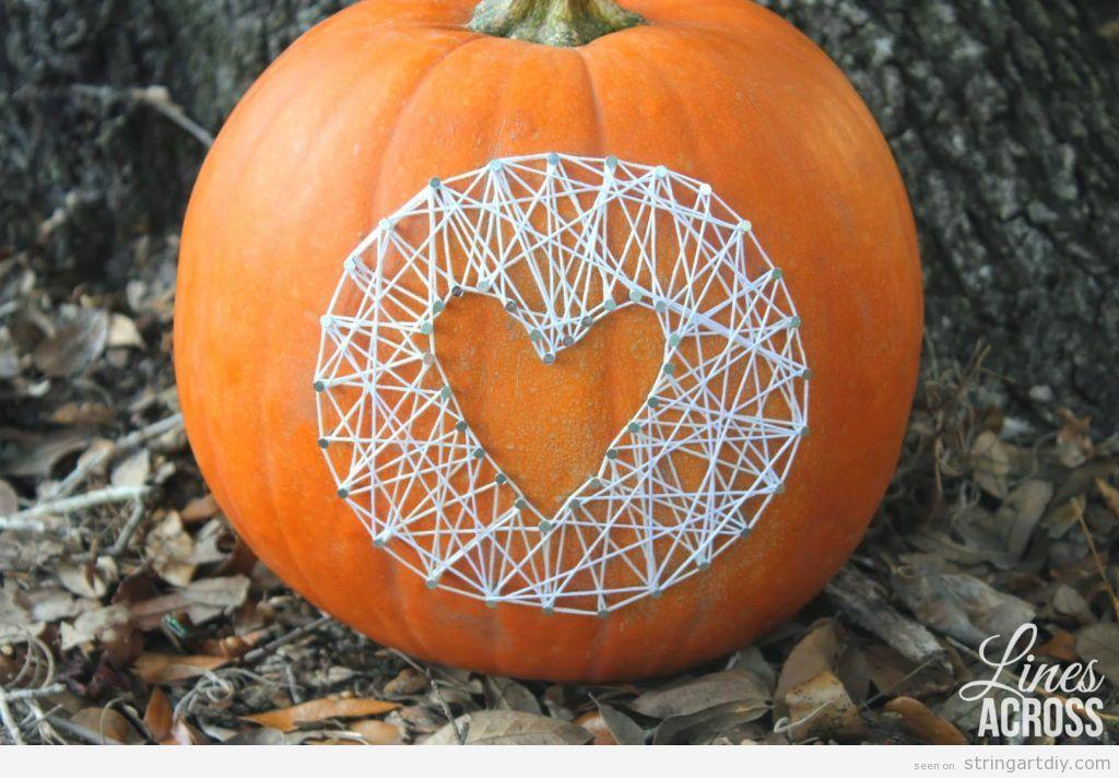 Heart shaped String Art on a pumpkin