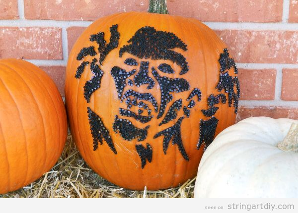 Zombie shaped String Art pumpkin