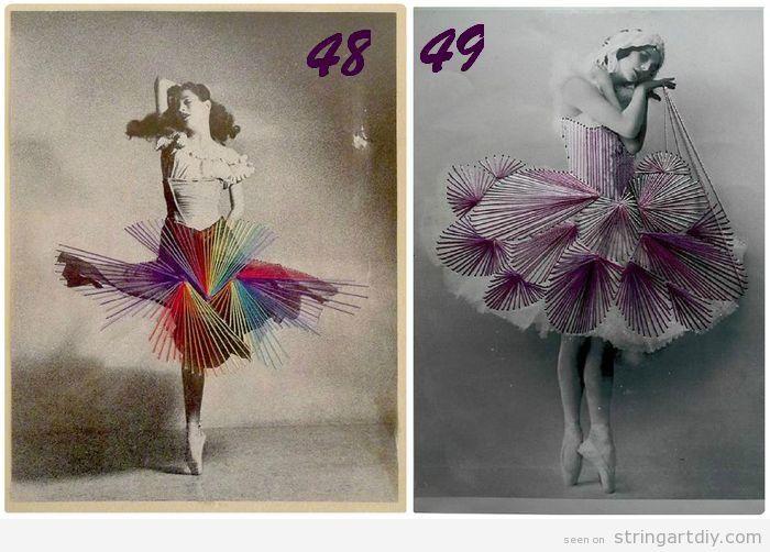 String Art on dancer pics printed on board