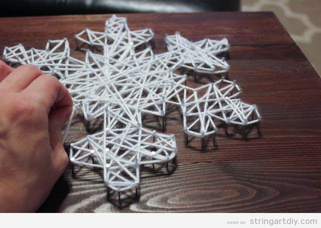 Snowflake String Art DIY tutorial, step 4