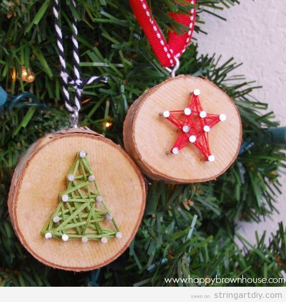 String Art DIY Christmas Tree Ornaments
