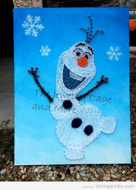 Olaf from Frozen String Art DIY 2