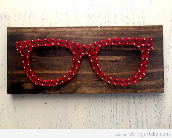 Red Glasses String Art DIY 2