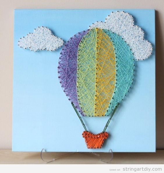 Hot Air Balloon String Art with clouds