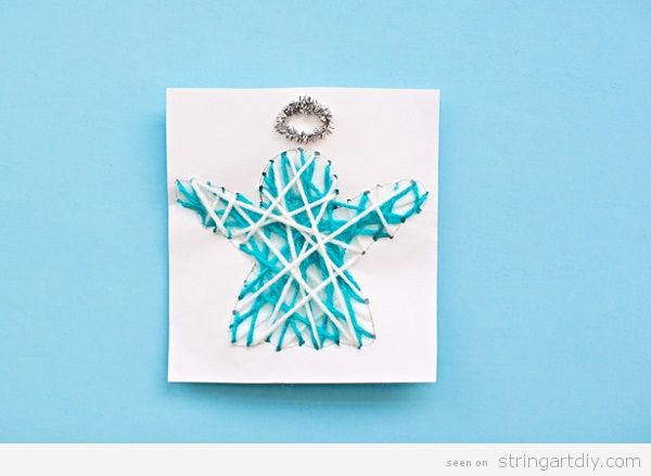 String Art Christmas Card Angel
